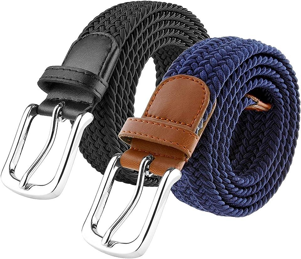 Woodland Leathers Elastic Braided Belt, Unisex Men Women Casual Stretch Woven Belt