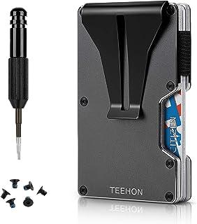 TEEHON Portafoglio Uomo Slim Piccolo Sottile, Mini Portafoglio Porta Carte di Credito da uomo, Fino a 10-12 carte, RFID/NF...