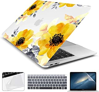 Batianda Case for New 2019 2018 2017 2016 MacBook Pro 15 inch Yellow Flower Design Matte Soft Touch Hard Cover with Keyboard Skin Trackpad Screen Protector