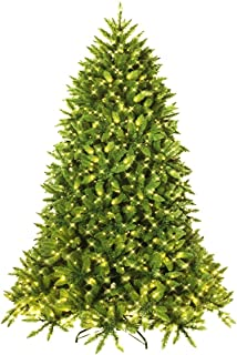 Goplus 6ft Prelit Christmas Tree, Premium Hinged Artificial Fir Tree, with LED Lights and Metal Stand, Easy Assemble, Xmas Decor for Indoor and Outdoor