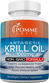 Krill Oil by Pomme Green Nutrition, 1000 mg, Omega 3, Anti-Inflammatory, Toxin Free, Easily Absorbed, EPA, DHA, GMP Certif...