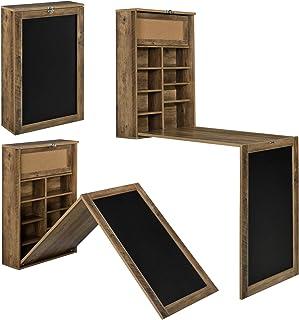 [en.casa] Table Murale Pliable Bureau Mural Rabattable MDF Couleur Bois Naturel 156 x 50 x 91,5 cm
