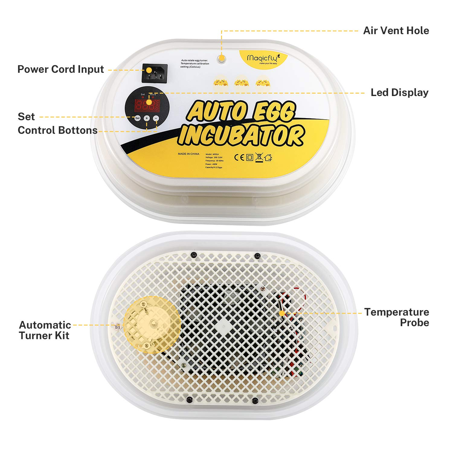 Magicfly Digital Mini Fully Automatic Egg Incubator 9-12 Eggs Poultry Hatcher for Chickens Ducks Goose Birds