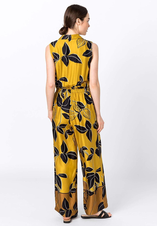 HALLHUBER Jumpsuit mit Blätterprint extraweite Beine Multicolor