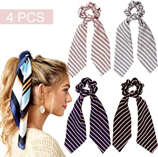 4Pcs Hair Scarf Scrunchies Satin Silk Elastic Hair Bands Ponytail Holder Scrunchy Ties Vintage Accessories for Women Girls