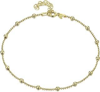 18K Gold Plated on 925 Sterling Silver Adjustable Anklet - Classic Chain Ankle Bracelets - 9