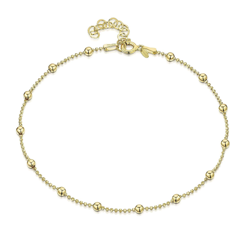 Silver Gold Anklet Bracelet 14k Gold Vermeil 10\u201d Gold Vermeil 4 mm Anklet Bracelet EA53 925 Sterling Silver Anklet