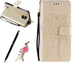 Meeter Samsung Note Case  Samsung Galaxy Note Wallet Case  Leather Blossom Tree Embossing Pattern  Magnetic Adsorption  Folio Inner Soft TPU Case with  Card Slots  Stand