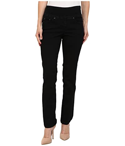 Jag Jeans Petite Peri Pull-On Denim Straight Leg Jeans (Black Void) Women