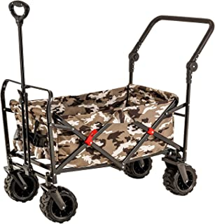 Camouflage Wide Wheel Wagon All Terrain Folding Collapsible Utility Wagon with Push Bar - Portable Rolling Heavy Duty 265 Lb Capacity Canvas Fabric Cart Buggy - Beach, Garden, Sporting Events, Picnic