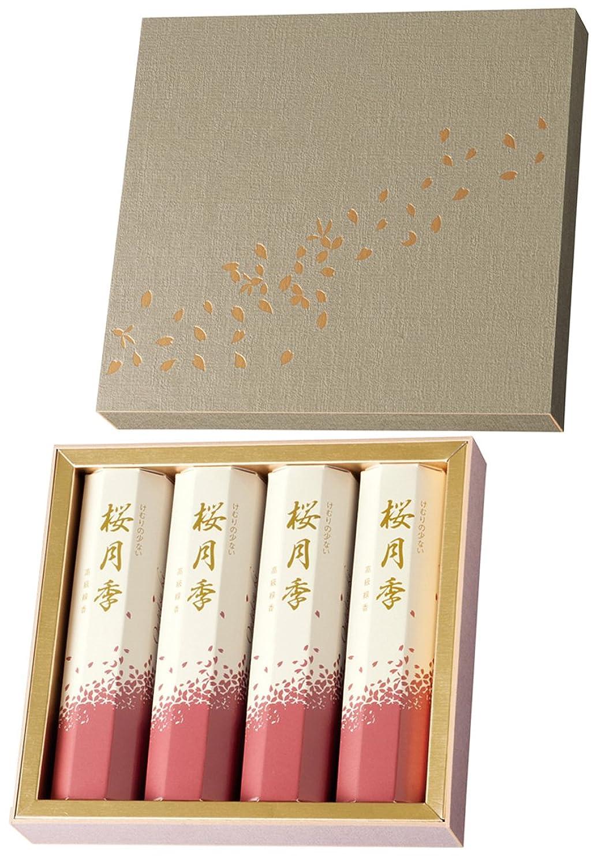 エトナ山各養う玉初堂のお線香 けむりの少ない 桜月季 短寸4箱入 化粧紙箱 #6640