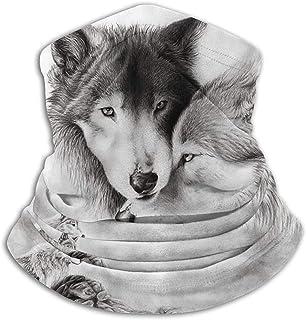 Lsjuee Copricapo resistente, mezza, passamontagna, sciarpa tubolare, ghetta, bandana, amante dei lupi Fantastico scaldacol...