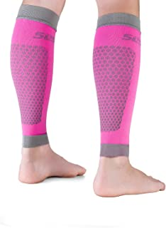 "SLS3 Compression Sleeves | Athletic Lower Leg Calf Guards | Performance Support for Shin Splint & Calf Pain Relief | Calves |German Designed (S (Calf 11.5-13.5""), Pink)"
