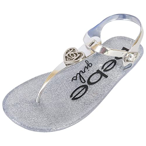 7d8377a169a bebe Girls Rhinestone Glitter Heart Jelly Sandals - Metallic Flip Flop  Shoes (Little Kid
