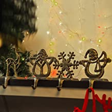 Tnjskce Christmas Stocking Holder with Hook for Fireplace Mantle (A)