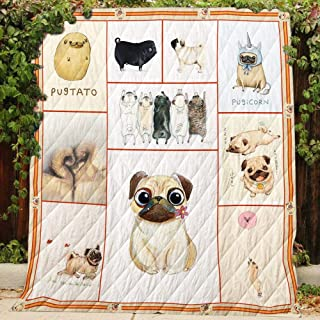 Pug Dog Cute Quilt P192, Twin All-Season Quilts Comforters with Reversible Cotton King/Queen/Twin Size - Best Decorative Quilts-Unique Quilted for Gifts