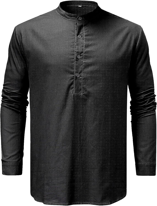 RUIY Men's Long Ranking TOP6 Short In stock Sleeve Cotton Linen Hippie Henley Ca Shirt