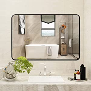 ARTWIND Large Wall Mirror 30x40 Decorative Bathroom Mirror Modern Black Framed Rectangular Mirrors with Round Corner for Horizontal or Vertical Wall Hanging