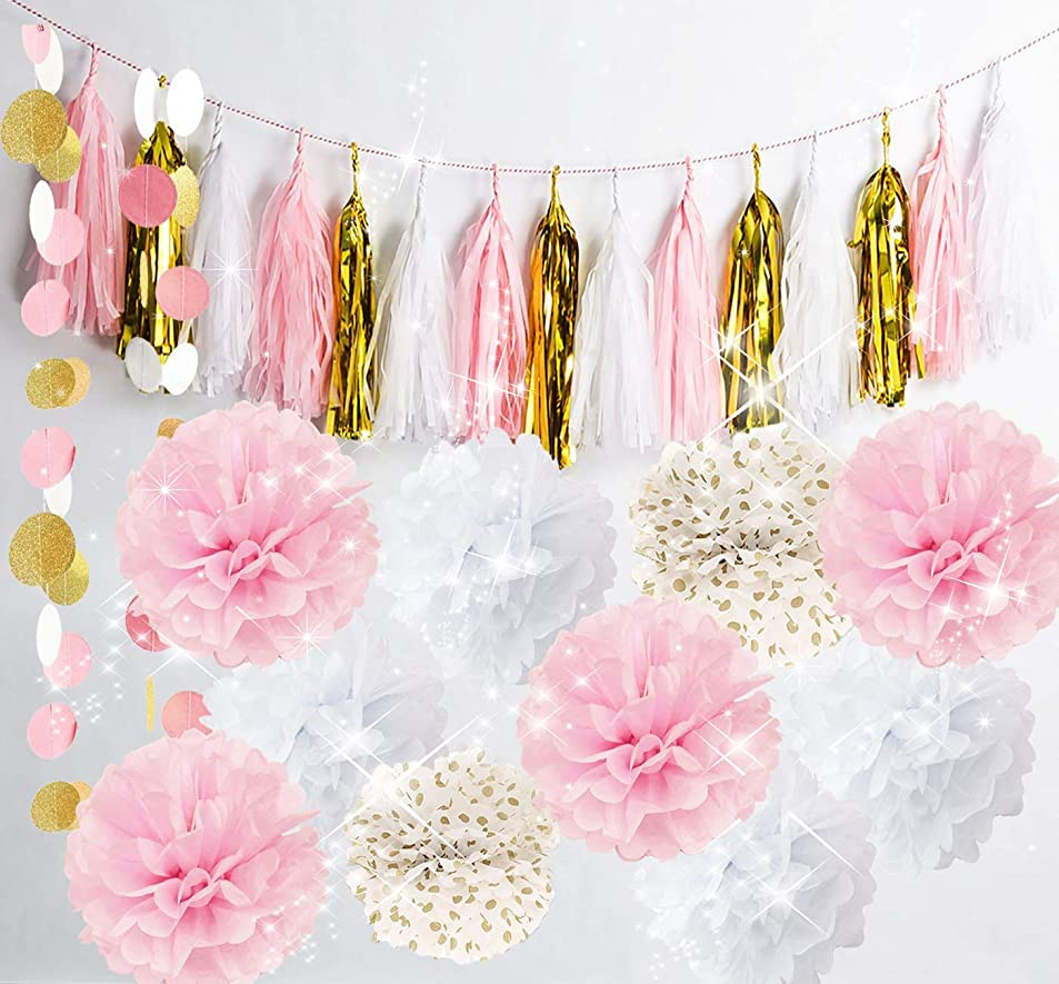Qian's Party Baby Pink Gold White Baby Shower Decorations for Girl/Party Decorations First Birthday Decorations Tissue Paper Pom Pom Tassel Garland Circle Paper Garland Bridal Shower Decor ibevdqva3058
