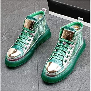 Unisex Men's Women's Air Running Shoes Trainers Mesh Breathable Sneakers Breathable Colorblock High-Top Shoes for Multi Sport Athletic Jogging Fitness Walking Casual Shoes,Green,40EU