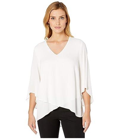 Karen Kane Bracelet Sleeve Asymmetric Top (Off-White) Women