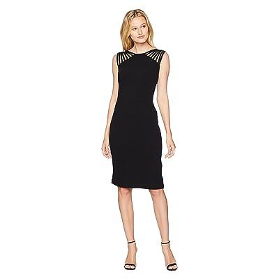 Sangria Lattice Textured Dress (Black) Women