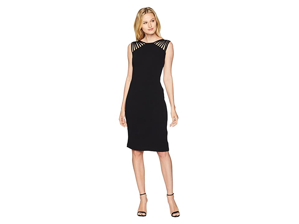 Sangria Lattice Textured Dress (Black) Women's Dress