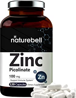 Maximum Strength Zinc 100mg, Zinc Picolinate Supplement, 120 Capsules, Zinc Vitamin and Immune Vitamins for Enzyme Functio...