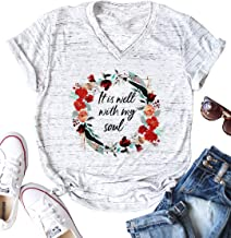 It is Well with My Soul Christian T Shirt Women Funny Letter Print Flowers Garland Graphics Tops Tee for Women