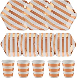 ALINK 150PCS Biodegradable Rose Gold Striped Disposable Paper Plates Cups Set, 50 Dinner Plates, 50 Salad Plates,50 Paper Cups for Birthday Party, Wedding, Thanksgiving, Christmas, Bridal/Baby Shower