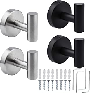 Round Coat Robe Hook Door Brushed Stainless Towel Holder Wall Mounted Hook LD
