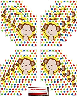 Curious Fun Monkey Favor Loot Bags 16 count (Plus Party Planning Checklist by Mikes Super Store)