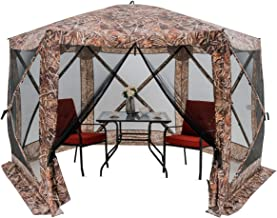 """HAPPYGRILL 140""""x 140"""" Outdoor Patio Canopy Portable Pop up Gazebo, Large Screen Tent Bug & Rain Protection, Camouflage"""
