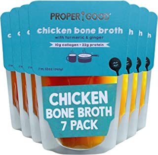 Chicken Bone Broth Pack by Proper Good, Keto, Gluten Free, Hearty, Healthy, Shelf Stable, No Refrigeration Required, 12 Ou...
