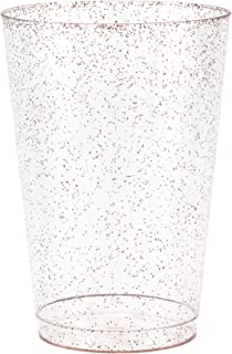 50 Rose Gold Glitter Clear Hard Plastic Cups | 10 oz. Fancy Disposable Wedding Tumblers for Party & Wedding (50-Pack) by Bloomingoods