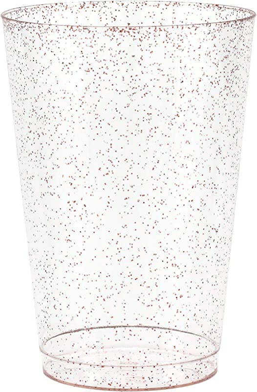 50 Rose Gold Glitter Clear Hard Plastic Cups 14 Oz Fancy Disposable Wedding Tumblers For Party Wedding 50 Pack