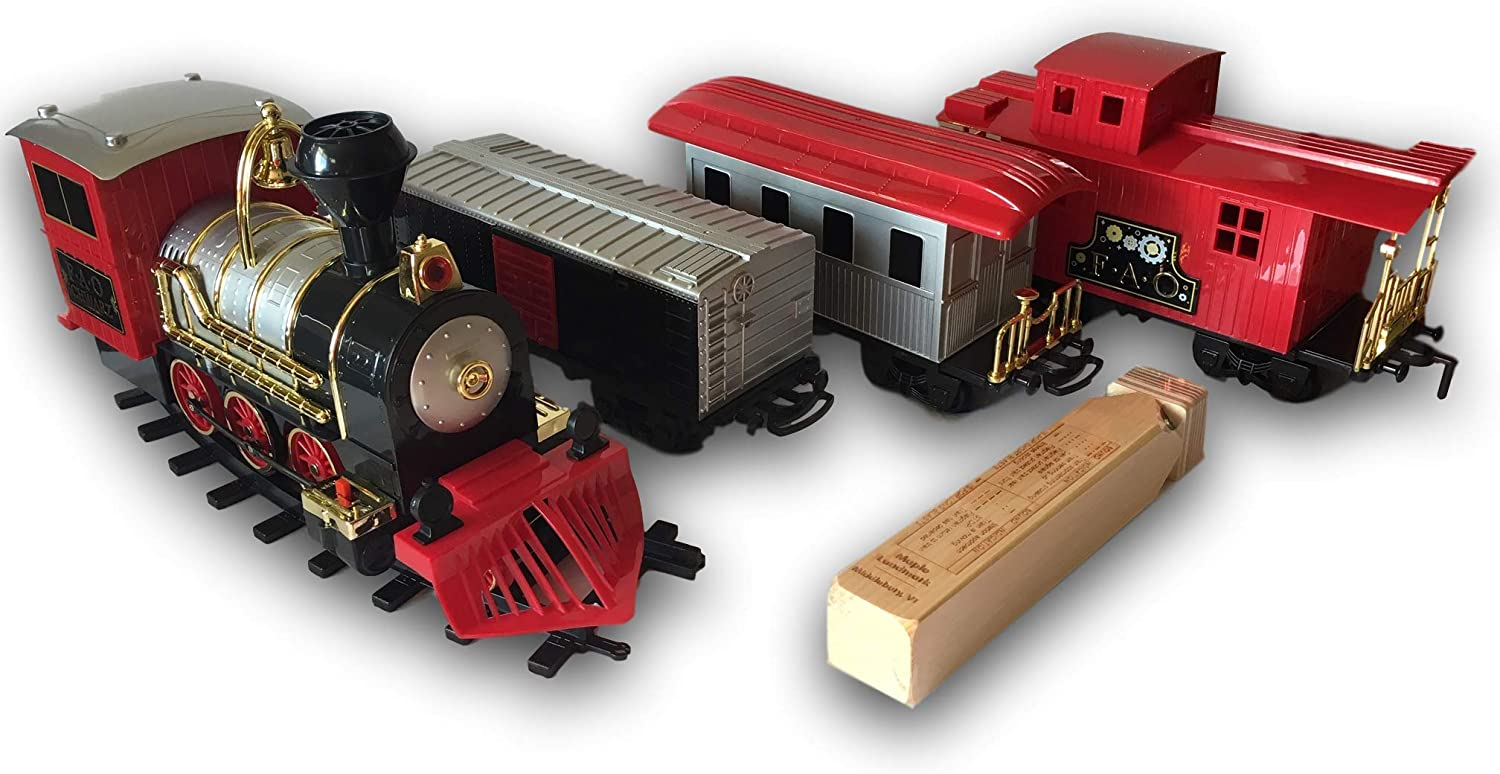 FAO black Classic Motorized Train Set, 30Piece Complete Toy Set with Steam Engine, 18 Feet of Track, 3 Unique Train Cars with LED Lights, Realistic Sound Effects, with Train Whistle Bundle