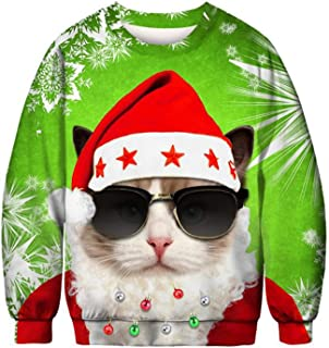Unisex Funny Ugly Christmas Sweatshirt Sweater Novelty 3D Printed Men Women Funny Xmas Plus Size Party Sweater Pullover