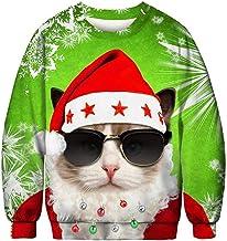 Unisex Christmas Sweater Holiday Tacky Sweatshirt Funny 3D Xmas Dinosaur Graphic Tees Tops