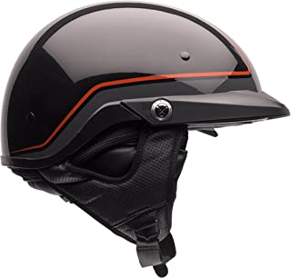 Bell Pit Boss Open-Face Motorcycle Helmet (Pinstripe Orange/Black, Medium)