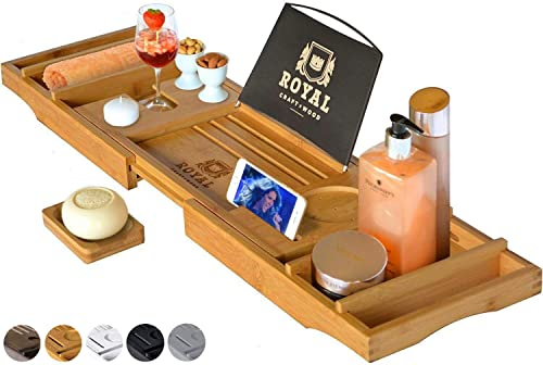 ROYAL CRAFT WOOD Luxury Bathtub Caddy Tray, One or Two Person Bath and Bed Tray, Bonus Free Soap Holder (Natural Bamb...