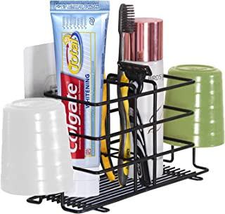 Bamyko Toothbrush Holder Stainless Steel Toothpaste Holder Wall Mounted for Bathroom Storage - Black