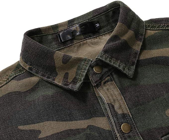 U/A Primavera Otoño Camuflaje Camisa de Mezclilla para Hombre Verde Ejército de Manga Larga Suelta Jeans Camisas de Hombre