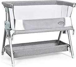INFANS Baby Bedside Crib, Newborn Sleeper w/Large Storage Basket, Adjustable Heights & Angle, Detachable &Washable Mattres...