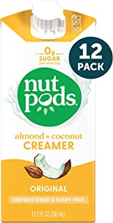 nutpods Dairy-Free Creamer Unsweetened, 11.2 Fl Oz (Pack of 12)- Whole30 / Paleo / Keto / Vegan / Sugar Free, White