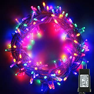 PMS 300 LED String Fairy Lights on Clear Cable with 8 Light Effects, Low Voltage Transformer Included, Ideal for Christmas, Xmas, Party,Wedding,etc (300 LEDs, Multi)