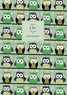 Owl Notebook - Lined Pages - A4 - Premium: (Green Edition) Fun Notebook 192 lined pages (A4 / 8.27x11.69 inches / 21x29.7cm)