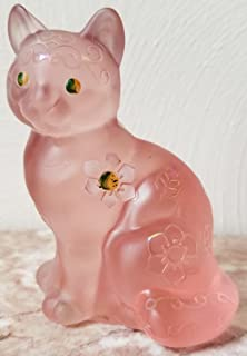 Fenton Pink Sand Carved Solid Glass Sitting Cat - Rosso OOAK USA