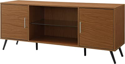 """Walker Edison Furniture Company Mid Century Modern Wood Universal Stand for TV's up to 65"""" Flat Screen Cabinet Door and Shelves Living Room Storage Entertainment Center, 60 Inch, Pecan"""