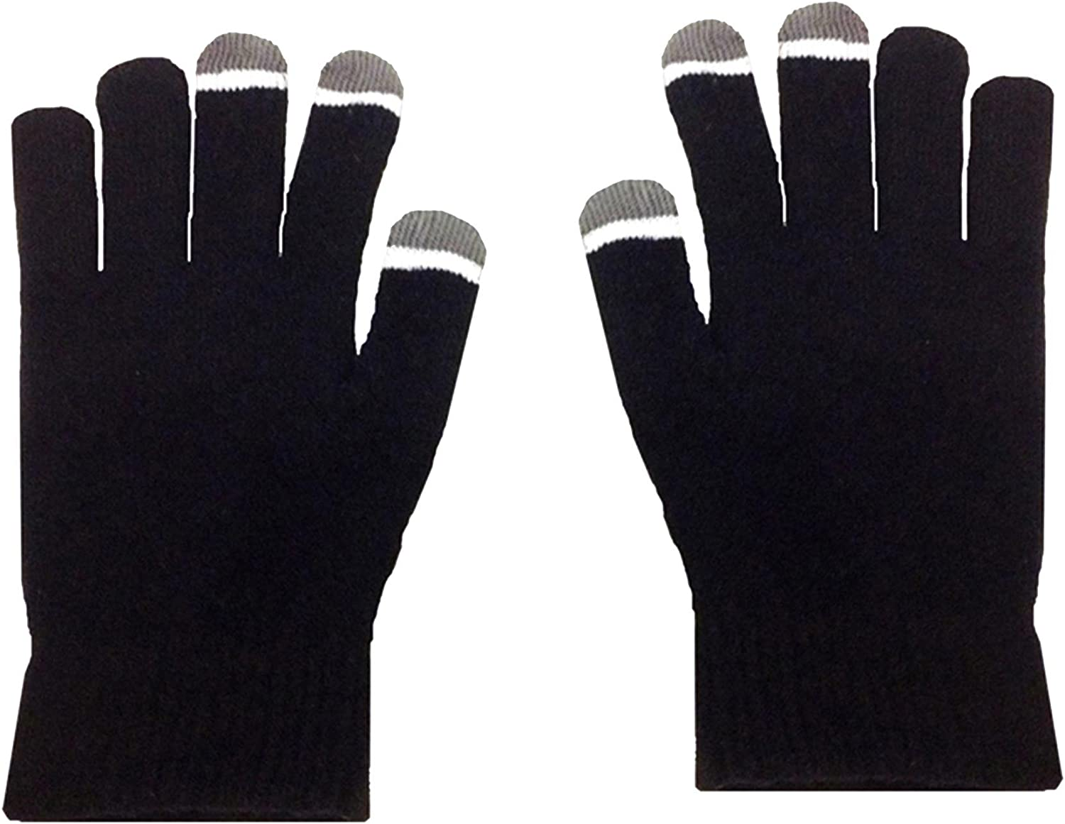 Micro Velvet Black Touch Screen Gloves With Glow Tips